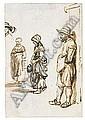 *Samuel van Hoogstraten (1627-1687) studies of three standing figures, and of a head.  Pen and, Samuel Van Hoogstraten, Click for value