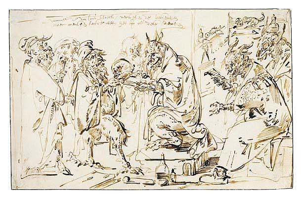 *Andries Both (circa 1612-1641) diablerie: a satire on the medical profession.  Inscribed: wanneer