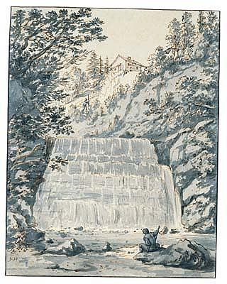 *Jan Hackaert (1628-1685) landscape with a waterfall.  Signed with initials, lower left: J.H.  Pen
