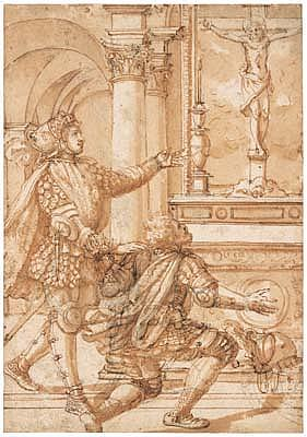 *Pirro Ligorio (circa 1500-1583) two knights praying before an altar.  Pen and brown ink and wash