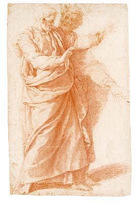 *Girolamo Muziano (1528-1592) two male standing figures.  Red chalk.  475 by 300mm. This drawing,