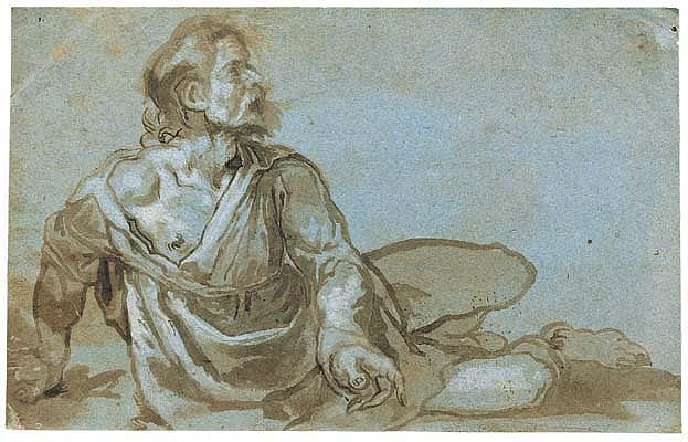 *Ludovico Cardi, called Il Cigoli (1559-1613) study of a man seated on the ground, one arm raised.