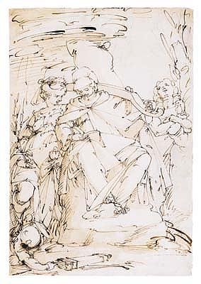 *Giulio Benso (1592-1668) three allegorical female figures: faith, temperance and prudence.  Pen