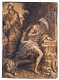 *Bernardino Campi (1522-1591) st. jerome and st. anthony abbot.  Pen and brown ink and wash, over, Bernardino Campi, Click for value