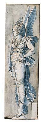 *Giuseppe Cades (1750-1799) winged victory.  Pen and brown ink and blue and brown wash.  422 by