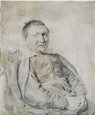*Cornelis Visscher (1629-1662) portrait of a seated gentleman, half length.  Black chalk on vellum.