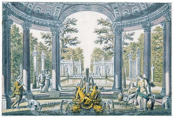 *Daniel Marot the Elder (1663-1752) design for a garden: a fountain under a rotunda leading to a