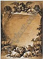 *Jean-Baptiste Huet (1745-1811) design for a frontispiece with animals and putti.  Signed in pen, Jean-Baptiste Huet, Click for value