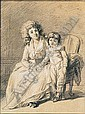 *Francois-Andre Vincent (1746-1816) portrait of a mother and child.  Black, white and touches of, Francois-Andre Vincent, Click for value