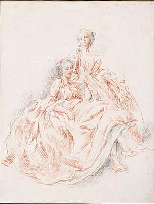 *Jacques-Andre Portail (1695-1759) two women reading a letter.  Red and black chalk.  338 by 259mm.