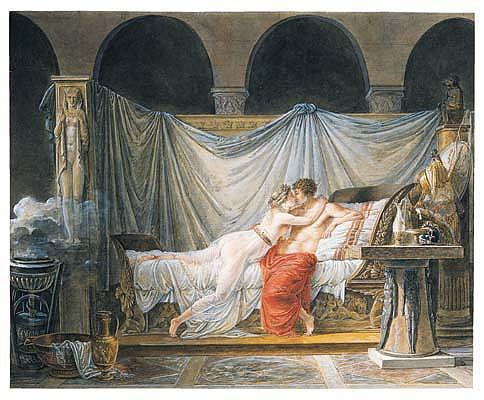 *Jean-Baptiste Mallet (1759-1835) helen and paris.  Watercolor and gouache.  330 by 403mm. While