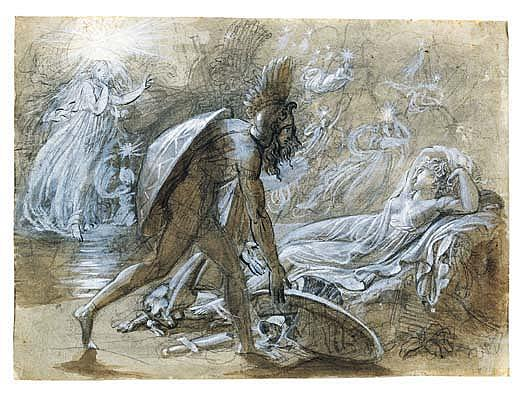 *Anne-Louis Girodet de Roussy-Trioson (1767-1824) scene from the legend of ossian.  Drawn with the