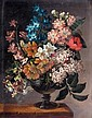 JAMES SILLETT 1764-1840 A STILL LIFE OF BLUEBELLS, POPPIES, AND OTHER FLOWERS IN A VASE ON A LEDGE, James Sillett, Click for value
