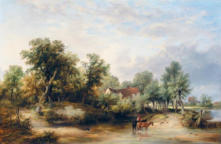 JAMES STARK 1794-1859 CROSSING THE FORD