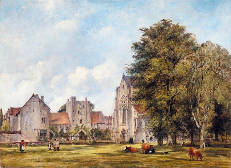 FREDERICK WATERS WATTS 1800-1862 A VIEW OF THE HOSPITAL AT ST CROSS, WINCHESTER, WITH CATTLE