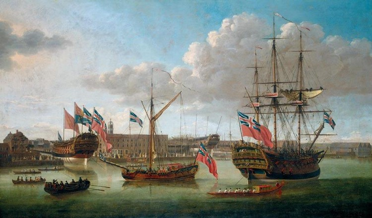 f - JOHN CLEVELEY THE ELDER ACTIVE 1747-1792 DEPTFORD DOCKYARD, SHOWING THE LAUNCH OF THE MEDWAY,