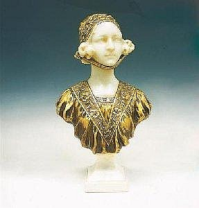 GUSTAVE VAN VAERENBERGH (1873-1927), A GILT BRONZE AND MARBLE BUST OF A GIRL, with a bonnet and floral tunic, signed 'G. Van Vaerenbergh' to the reverse, 55cm high