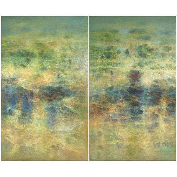 Abdallah Benanteur , B. 1931 Les Nostalgiques No.4 oil on canvas, in two parts