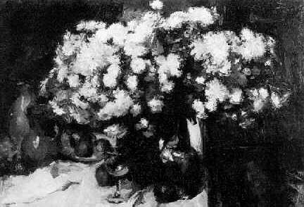 JEAN LAUDY (1877-1956) A STILL LIFE WITH FLOWERS, FRUIT AND EARTHENWARE ON A TABLE
