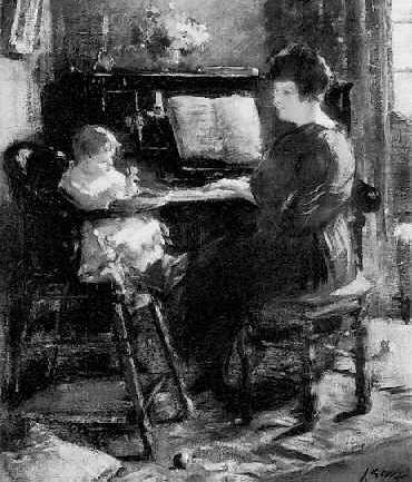 SALOMON GARF (1879-1943) LISTENING TO MOTHER'S PIANOPLAYING