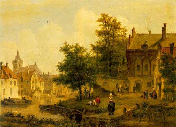 BARTHOLOMEUS JOHANNES VAN HOVE (1790-1880) A TOWN BY A RIVER WITH FIGURES ON A YARD