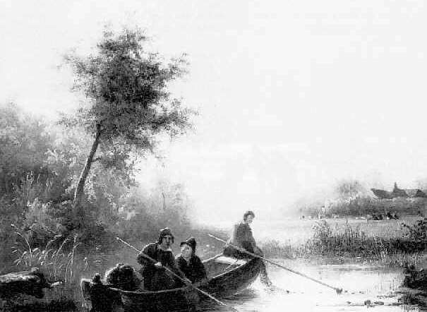 PIETER LODEWIJK KUHNEN (1812-1877) A LANDSCAPE WITH THREE MEN IN A BOAT