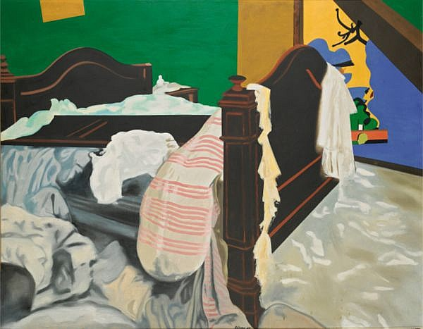 Eduardo Arroyo , n. 1927 La Perquisition de St Sebastian huile sur toile