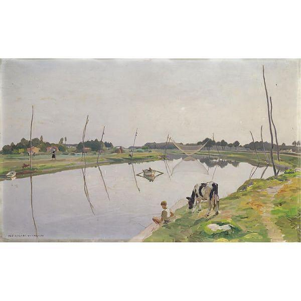 - Ugo Celada da Virgilio , (Virgilio 1895 - 1995)   A pesca sul Po olio su compensato