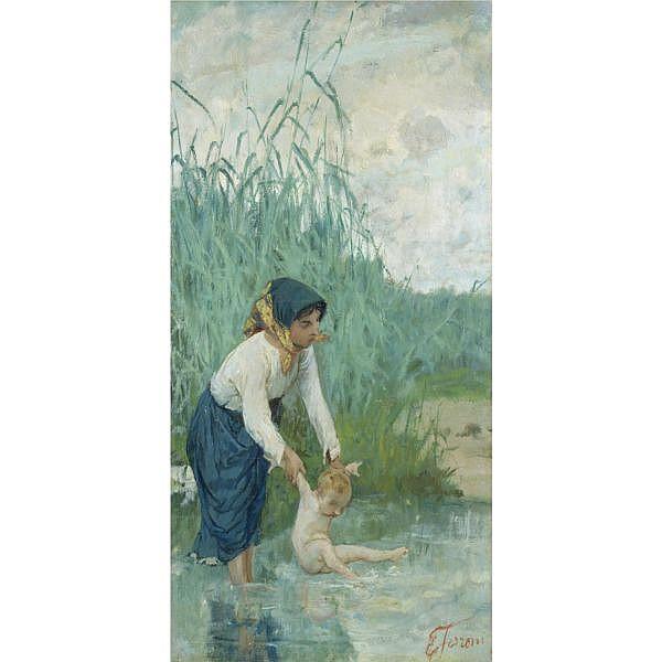 Egisto Ferroni , (Porto di Mezzo di Lastra a Signa 1835 - Lastra a Signa 1912) Il bagno nel torrente olio su tela