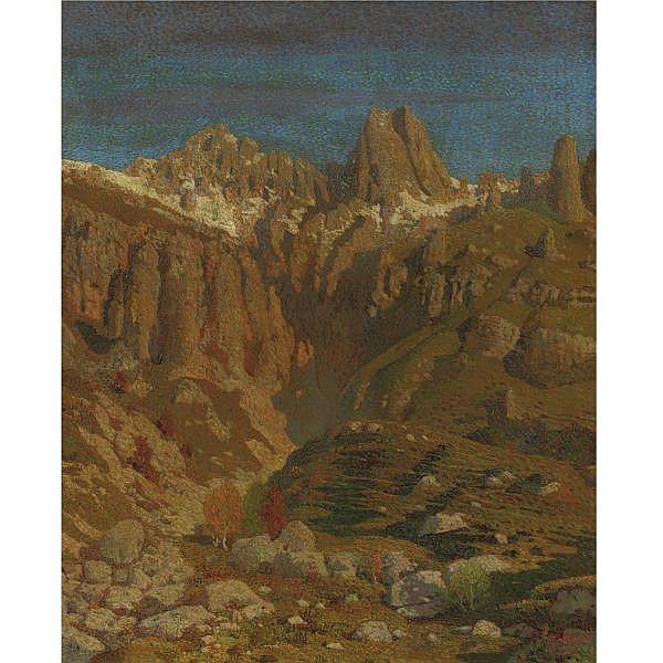 - Oreste Albertini , (Torre del Mangano 1887 - Besano 1953) Grignetta olio su tela