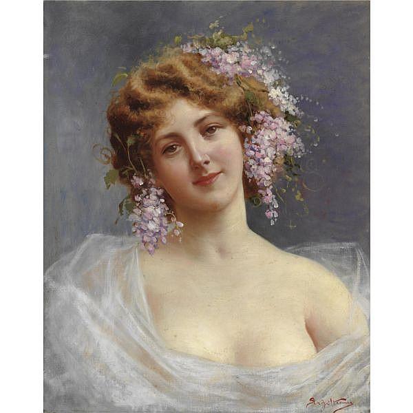- Achille Beltrame , (Arzignano 1871 - Milano 1945) Fanciulla con lillà olio su tela