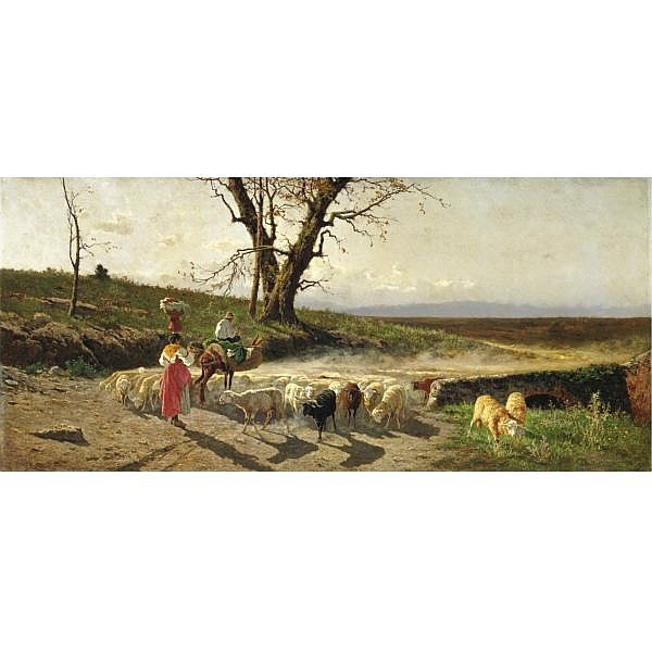 Aurelio Tiratelli , (Roma 1839 - 1900) Campagna romana olio su tela