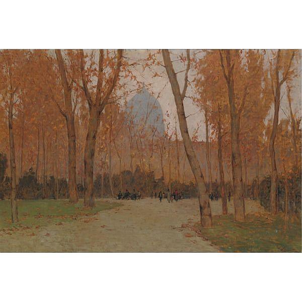 - Giovanni Lomi , (Livorno 1889 - 1969) Giardini pubblici a Firenze olio su tela