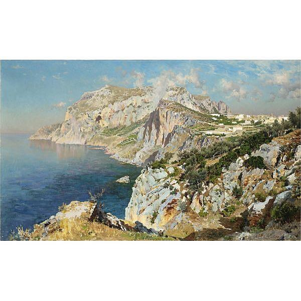 Antonino Leto , (Monreale 1844 - Capri 1913) Capri olio su tela
