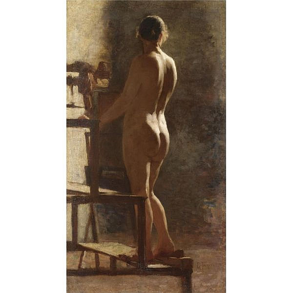 Giacomo Favretto , (Venezia 1849 - 1887) Studio di nudo femminile olio su tela