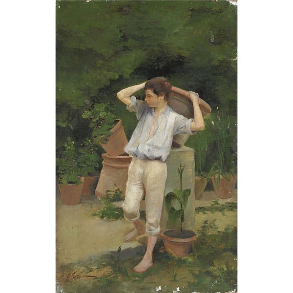 Egisto Ferroni , (Porto di Mezzo di Lastra a Signa 1835 - Lastra a Signa 1912) Il giovane vasaio olio su tela