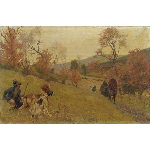 Eugenio Cecconi , (Livorno 1842 - Firenze 1903) I cacciatori olio su tela