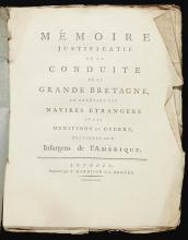 [MARRIOTT, SIR JAMES]. MEMOIRE JUSTIFICATIF DE LA CONDUIT DE LA GRANDE BRETAGNE, 1779