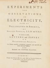 FRANKLIN, BENJAMIN. EXPERIMENTS AND OBSERVATIONS  ON ELECTRICITY, 1769 (1 VOL.)