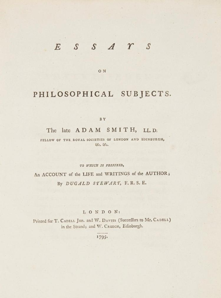 essays on philosophical subjects adam smith Essays on philosophical subjects by adam smith & w p d wightman for - compare prices of 795047 products in books from 492 online stores in australia save with myshoppingcomau.