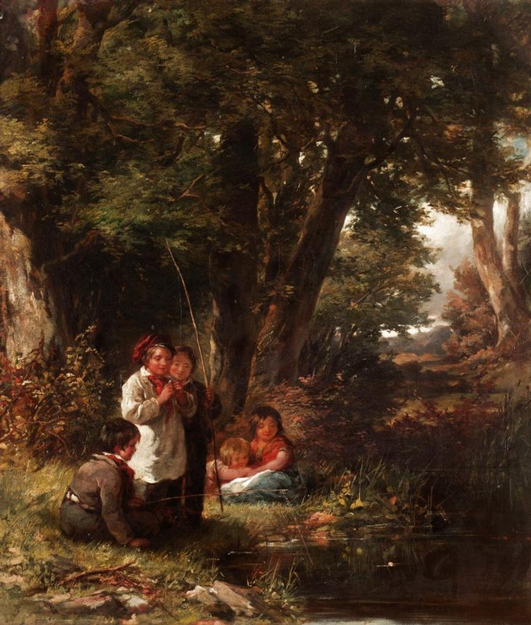 JAMES CURNOCK, 1812-1870 CHILDREN ANGLING