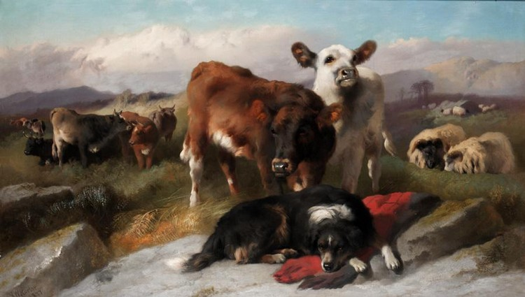 f - GEORGE W. HORLOR, ACTIVE 1849-1891 THE HERDSMAN'S DOG