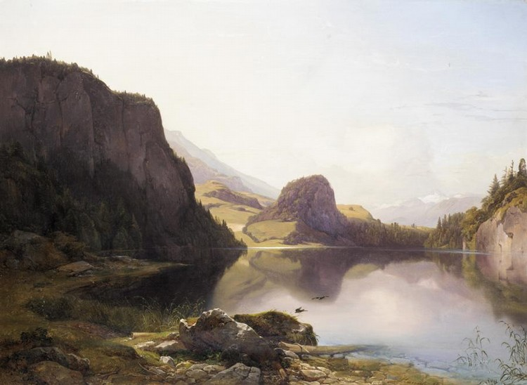 ANTON HANSCH, AUSTRIAN 1813-1876 DER KROTENSEE ZWISCHEN ST. GILGEN UND MONDSEE IM SALZKAMMERGUT,