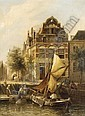 CORNELIS CHRISTIAAN DOMMERSEN, DUTCH 1842-1928 OLD HOUSES, ROTTERDAM, Cornelis Christiaan Dommelshuizen, Click for value