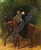 JEAN-BAPTISTE-ÉDOUARD DETAILLE, FRENCH 1848-1912 A COUPLE OUT RIDING