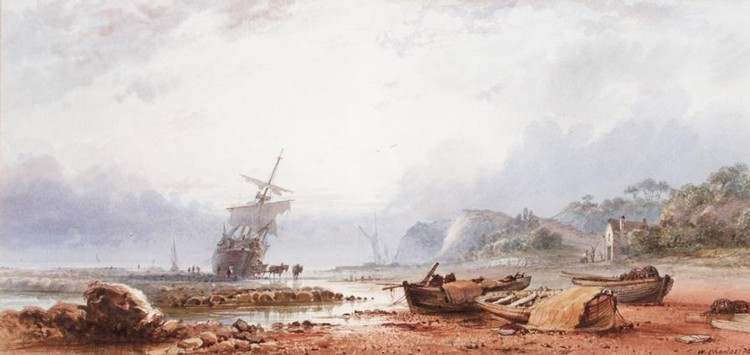 W*** CHARLES, FL. 1870-1871 UNLOADING A BEACHED VESSEL