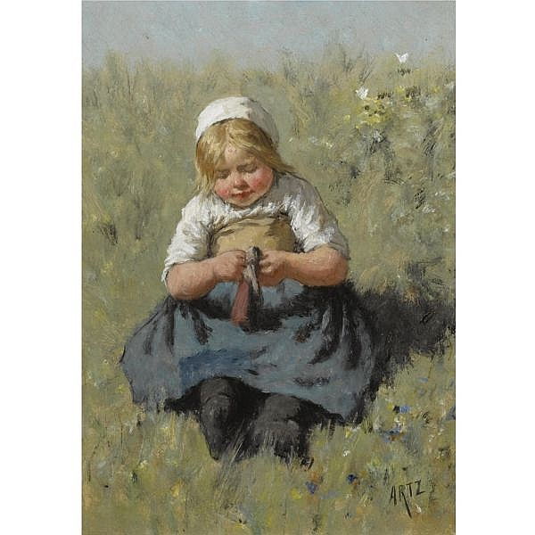 David Adolphe Constant Artz 1837-1890 , a girl playing with a doll oil on panel