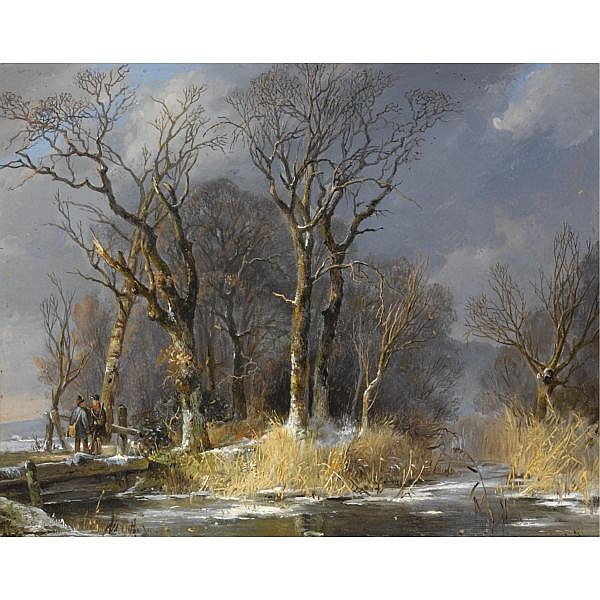 Frans Breuhaus de Groot 1796-1875 , hunters in the snow oil on cardboard