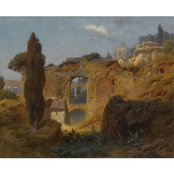 Ferdinand Knab 1834-1902 , view of the ruins at taormina, sicily oil on canvas