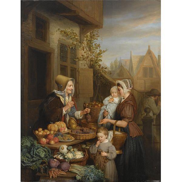 Frans Josef Luckx Belgian, 1802-1849 , at the vegetable market oil on panel